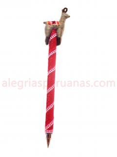 Decorative Pen Red Wool Cover and  Llama Design