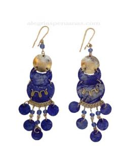 Earrings Paiche Style Blue Coin
