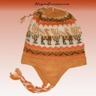 Knit Hat Chullo Light Orange