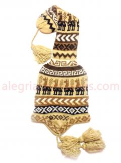 Long Head Tail Knitted Hat Creme