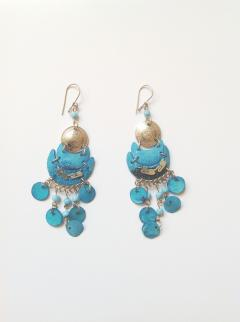Earrings Paiche Style Turquoise Coin