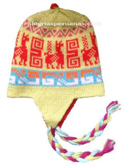 Knit Hat Chullo Double-Sided Light Green and Red