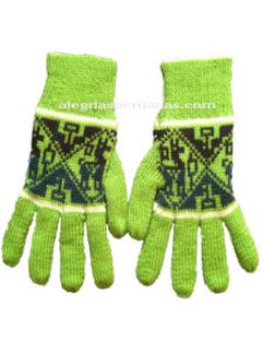Winter Knit Gloves Green and Black