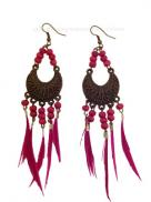 Earrings Feather Bird Pink