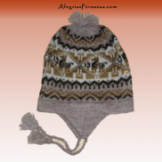 Knitted Bobble Hat Chullo Light Brown
