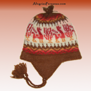 Knitted Hat Chullo Dark Brown Design