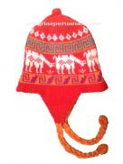 Knit Hat Chullo Double-Sided Orange and Red